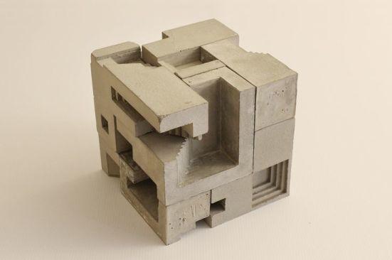 Cube en béton maquette Gracieuseté Pinterest.fr