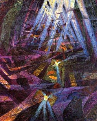 Peinture futuriste exaltant le progrès